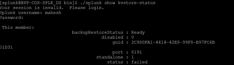 splunk kv store errors 3